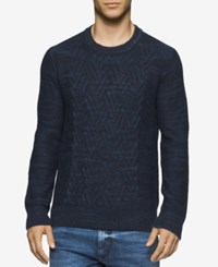 Calvin Klein Jeans Men's Space Dyed Cable Knit Sweater Classic Navy