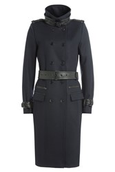 The Kooples Wool Coat With Leather Blue