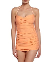 Athena Finesse Molded Cup Ruched One Piece Swimsuit Coral