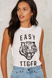 Social Decay Easy Tiger Muscle Tee Tank White