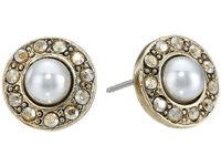 Oscar De La Renta Pearl P Stud Earrings Crystal Golden Shadow Earring
