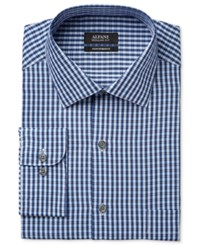 Alfani Men's Classic Fit Performance Blue Twill Check Dress Shirt Only At Macy's