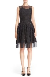 Carmen Marc Valvo Women's Floral Applique Sleeveless Organza Dress