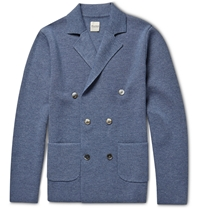 Hardy Amies Slim Fit Unstructured Wool Double Breasted Blazer Blue
