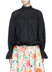 Chictopia Ruffle Hem V Back Cotton Poplin Shirt Black