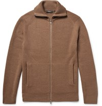 Theory Ronzons Ribbed Merino Wool Zip Up Sweater Camel