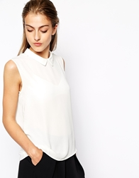 Mango Sleeveless Collar Blouse Offwhite
