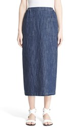 Women's Eskandar Cotton And Linen Denim Skirt