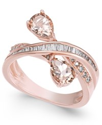 Macy's Morganite 1 1 5 Ct. T.W. And Diamond 3 8 Ct. T.W. Crisscross Ring In 14K Rose Gold