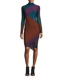 Opening Ceremony Long Sleeve Netted Mesh Colorblock Dress Black Multicolor
