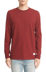 Norse Projects Men's 'Niels Basic' Long Sleeve T Shirt Red Clay
