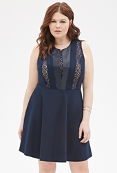 Forever 21 Faux Leather Fit And Flare Dress