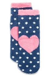 Junior Women's Bp. 'Butter' Ankle Socks Blue Navy Heart