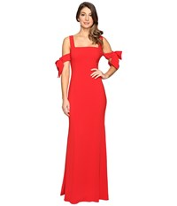 Badgley Mischka Bow Sleeve Off The Shoulder Gown Bright Red Women's Dress