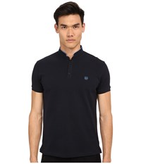 The Kooples Shiny Pique Polo Navy 1 Men's Short Sleeve Pullover