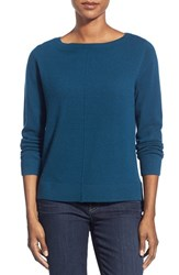 Nordstrom Women's Collection Boatneck Cashmere Sweater Teal Deep