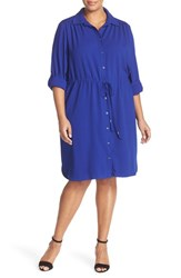 Tahari Plus Size Women's Tie Waist Crepe Shirtdress Cobalt