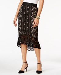 Thalia Sodi Lace Flounce High Low Skirt Only At Macy's Black Tan