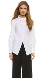 Asymmetrical Pullover Blouse White