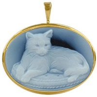 Del Gatto Cat Agate Stone Cameo Pendant Pin Blue