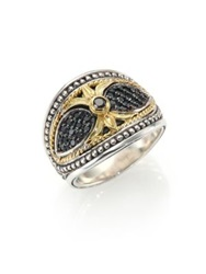 Konstantino Asteri Black Diamond 18K Yellow Gold And Sterling Silver Teardrop Ring Silver Black