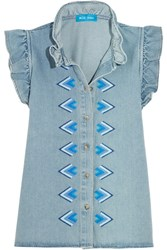 Mih Jeans M.I.H Hillsea Ruffled Embroidered Denim Top Light Denim