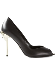 Versace Silver Heel Pumps Black
