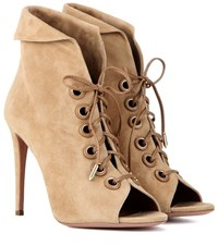 Aquazzura Eva 105 Lace Up Ankle Boots Beige