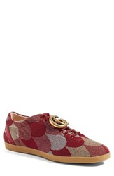 Gucci Men's 'Bambi Heart' Woven Sneaker With Genuine Snakeskin Detail Red Fabric