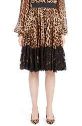 Dolce And Gabbana Women's Lace Overlay Leopard Print Chiffon Full Skirt