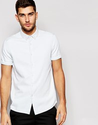 Asos Denim Shirt In Bleach Wash With Short Sleeves Bleach Blue