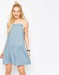Asos Denim Drop Waist Cami Dress With Rope Straps In Light Blue Light Wash Blue