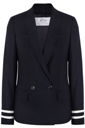 J.Crew Comero Striped Wool Pique Blazer Navy