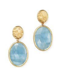 Marco Bicego 18K Yellow Gold Siviglia Resort Drop Earrings With Aquamarine Blue Gold