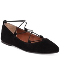 Lucky Brand Women's Aviee Elastic Lace Up Ballet Flats Women's Shoes Black Suede