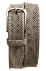 Men's Johnston And Murphy Perforated Suede Belt Grey