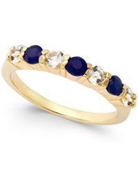 Victoria Townsend Sapphire 3 8 Ct. T.W. And White Topaz 3 8 Ct. T.W. Ring In 18K Gold Over Sterling Silver Yellow Gold