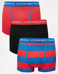 French Connection 3 Pack Trunks In Stripe And Spot Print Red