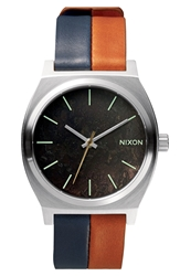 Nixon 'The Time Teller' Leather Strap Watch 37Mm Dark Copper Navy Saddle