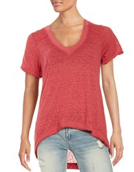 Free People Pearl V Neck Tee Red Blossom