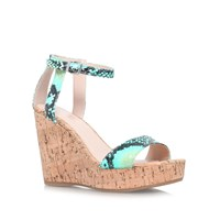 Carvela Kling High Wedged Sandals Turquoise