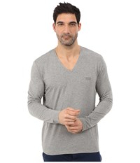 Hugo Boss Long Sleeve Mix And Match V Neck Cotton Stretch Medium Grey Men's Clothing Gray