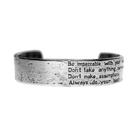 House Of Alaia The Four Agreements Reminder Cuff Oxidized Silver