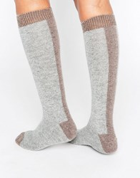 Johnstons Cashmere Long Socks Drfitwood Light Grey