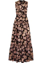 Erdem Ava Ruffled Fil Coupe Gown Black Metallic