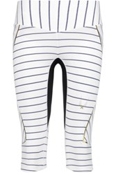Lucas Hugh Nordica Cropped Striped Stretch Leggings White