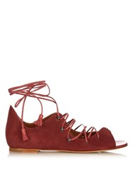 Malone Souliers Savannah Lace Up Suede Sandals Dark Pink