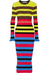 Opening Ceremony Striped Ribbed Knit Midi Dress Azure