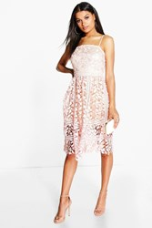 Boohoo Corded Lace Detail Midi Skater Dress Blush