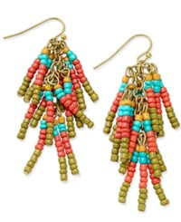 Macy's Gold Tone Beaded Fringe Chandelier Earrings Multi
